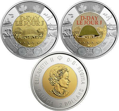 Two Coins Set: Colored + Non-Colored Mint Canada Toonies, D-Day, UNC, 2019