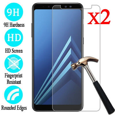 2X For Samsung Galaxy A6 A7 A8 A9 Plus 2018 Slim Tempered Glass Screen Protector