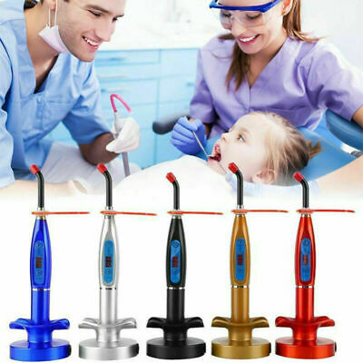 Dental 5W Wireless Cordless LED Curing Light Lamp Machine 2000MW US/EU Silver H
