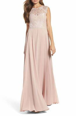 Hayley Paige NEW Pink Floral Lace Crepe Crochet Cutout 18 Gown Dress $298- #531