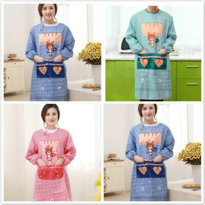 Adult Apron Fashion Kitchen Waterproof And Oil-proof Long Sleeve Cooking B