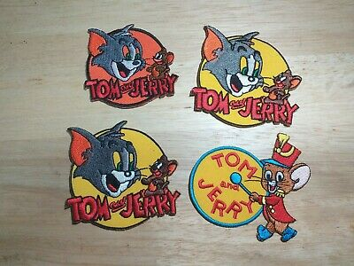 x4 Embroidered iron-on patch Tom and Jerry Cartoon Cat Mouse Mice Buddy Opponent