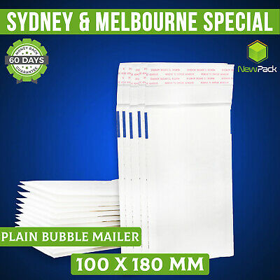 200x Bubble Envelope #0 100x180mm - Plain BLANK - White Padded Bag Mailer