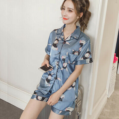 Women's Silk Satin Pajamas Set Short Sleeve Sleepwear Button-Down Print Homewear