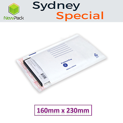 200x Bubble Envelope #01 160x230mm Padded Bag Mailer SIZE 01 - White Printed