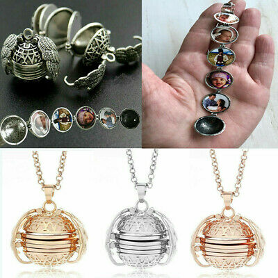 UK Expanding Photo Locket Necklace Silver Ball Angel Wing Pendant Memorial Gift