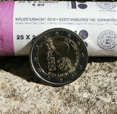 "Estonie Piece 2 Euro Commemorative 2018 ""100 Ans Republique D'estonie"" Neuve"