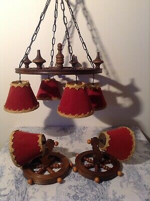 Vintage French Carved Wooden Wheel Chandelier & Wall Light Set (3452)