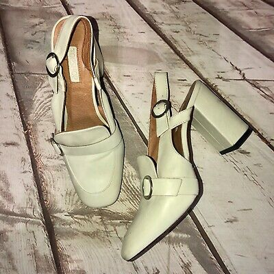 fa40581dd8 Topshop 39 8 Oxford Loafer Pump Block Heels Ivory Slingback Chic Retro Shoes