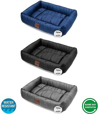 New Black Blue Tempar Luxury Water Resistant Soft Dog Cat Pet Small Bed Cushion