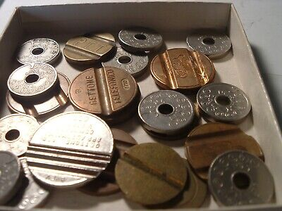 24 VINTAGE Slotted pay Vending telephone Tokens / Coins