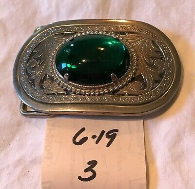 Cool Vintage Silver Tone Unmarked Faux Green Jewel Center Embossed Belt Buckle