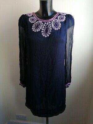 NWT French Connection Navy Pink & Silver Sequin Bead 100% Silk Shift Dress UK 14