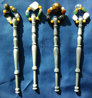 Four Grey Marbled Plastic Lace Bobbins With Spangles