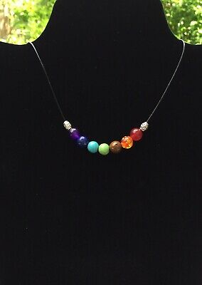 7 Chakra Leather Necklace 7 Healing Crystal Gemstones And Tibetan Silver