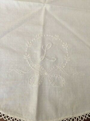 """Antique 25"""" Round Handmade Monogrammed L Dresser Scarf signed by Lillian Thomas"""