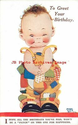 Mabel Lucie Attwell, Valentine L4, Boy with Patches, Birthday Greeting
