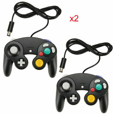 2X BLACK WIRED CLASSIC CONTROLLER JOYPAD GAMEPAD FOR NINTENDO GAMECUBE GC Wii UK