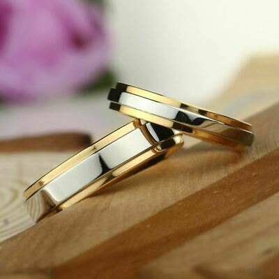Fashion 316L Stainless Steel Couple Rings Gold Band Engagement Jewelry Gifts