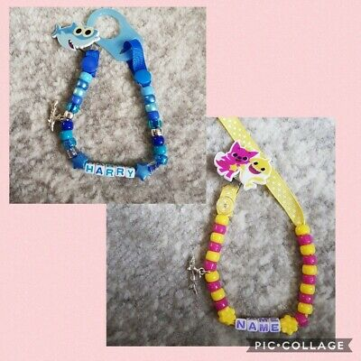 Beautiful **Baby Shark** Personalised Dummy Clip, Any Colour Beads, Any Name!!!