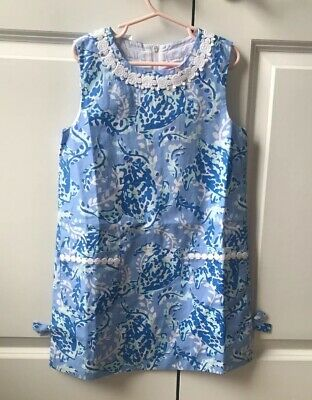 d3d787d68ff065 NWT Lilly Pulitzer Little Lilly Classic Shift Blue Peri Turtley Awesome  Size 7