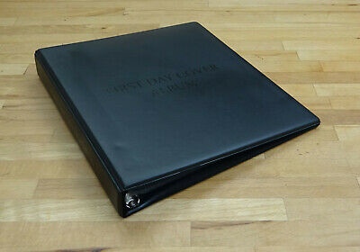 WH Smith 4 Ring First Day Cover Album Black with 15 Pages Very Good Condition.