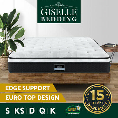 Giselle Bedding QUEEN Mattress DOUBLE KING SINGLE Euro Top Spring Foam Bed