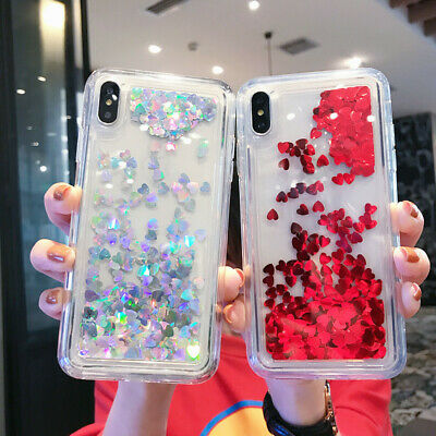 Glitter Love Heart Moving Liquid Quicksand Case Cover For iPhone XS Max XR 7 8+