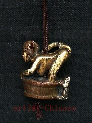 Rare Chinese Old Bronze Hand Carved Frog Sexy Woman Netsuke Collectable Ornament