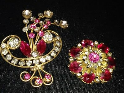 Antique, Vintage Set Of 1940s Pink Rhinestone Floral Brooches