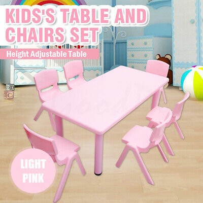 120CM 60CM Kids Toddler Activity Study Dining Playing Table &2 4 6 8 Chairs Pink