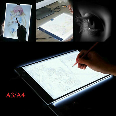 A3 A4 LED Ultra Slim Art Craft Drawing Copy Tracing Light Box Pad Board Kid Gift