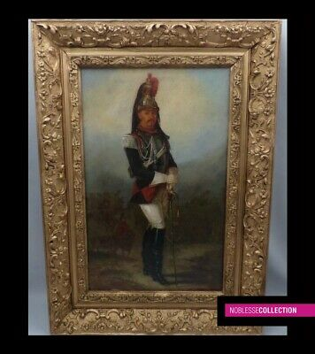 ANTIQUE FRENCH SCHOOL 19th C. 2nd Empire OIL ON CANVAS PAINTING CUIRASSIER 1862