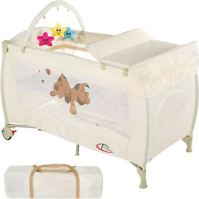 New Portable Child Baby Travel Cot Bed Playpen with Entryway Beige new