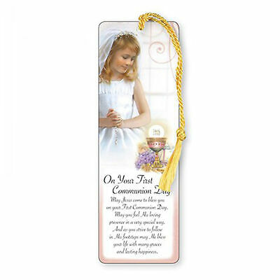 First Holy Communion Laminated Bookmark with Gold Tassel - Girl
