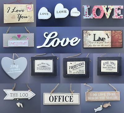 Selection of Hanging Wooden Signs Plaques Home Decoration Love Sign Plaque