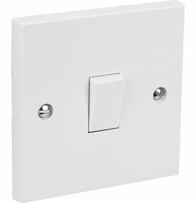 2 Way Single Gang Light Switch 1 Gang 1G 10AX White Plastic with Fixing Screws
