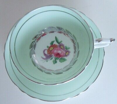 Vintage Mint Green Paragon Bone China Cup & Saucer Rose Flowers Double Warranty