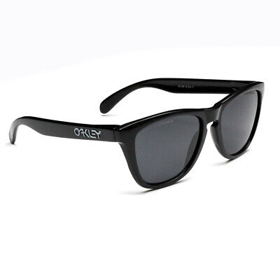 Fashion Sports Oakley Frogskins Polarized Sunglasses Black Frame Grey Lens