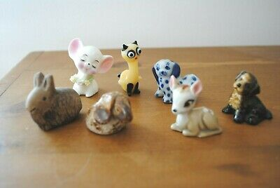 Vintage small ceramic animals x 7 inc Wade, studio pottery, mirano glass