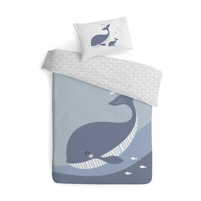 Baby Bedding Cot Quilt Cover Set Soft Cotton Whale Print Kids Crib Nursery Cover