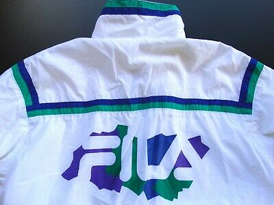 dce3d2c52972 Fila 100% Polyester White Colorful Logo Mens Classic Fitn Vtg Jacket Size:  38 Us