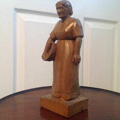 Arts & Cafts Aestetic Movement Carved Lime Wood Style Sculpture Signed F.b.