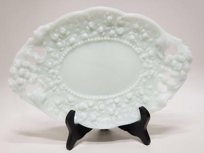 EAPG Fosteria Milk Glass Victorian Pressed Roses beaded Floral Vanity Tray