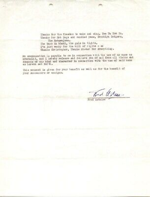 Fred Astaire - Document Signed 06/15/1943