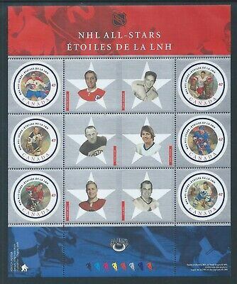 Canada NHL All Stars - 2 #1885 Full Pane MNH ** Free Shipping **