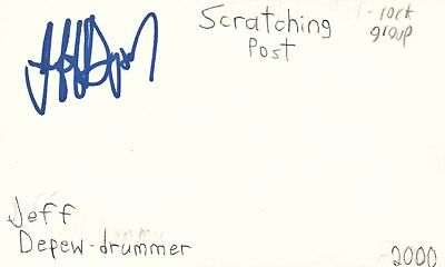 Jeff Depew Drummer Scratching Post Rock Band Autographed Signed Index Card