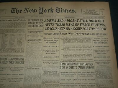 1935 October 6 New York Times - Adowa & Adigrat Still Hold Out 3 Days - Nt 7444