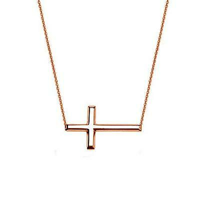 """Sideways Cross Adjustable Necklace 16-18"""" .925 Sterling Silver Rose Gold Plated"""