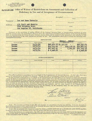 Abbott & Costello (Lou Costello) - Document Signed 01/31/1955 With Co-Signers